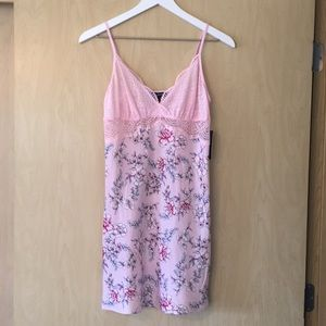 NWT pink pastel floral lace chemise by INC.